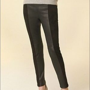 Zara FAUX Suede and Leather Paneled Leggings
